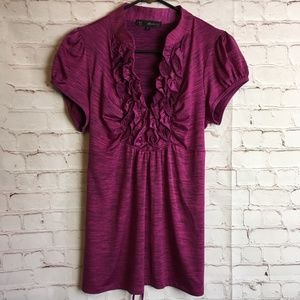 HEART SOUL Ruched Ruffle V-Neck Pink Black Top